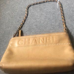 Chanel Beige Lambskin Leather Pochette Clutch Bag